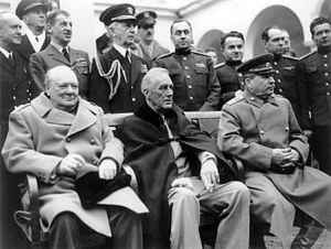Conferencia de Yalta. Churchill, Roosevelt y Stalin