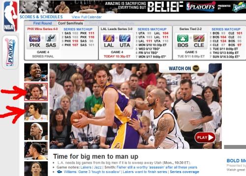 dos españoles Pau Gasol  y Ricky Rubio en NBA.com